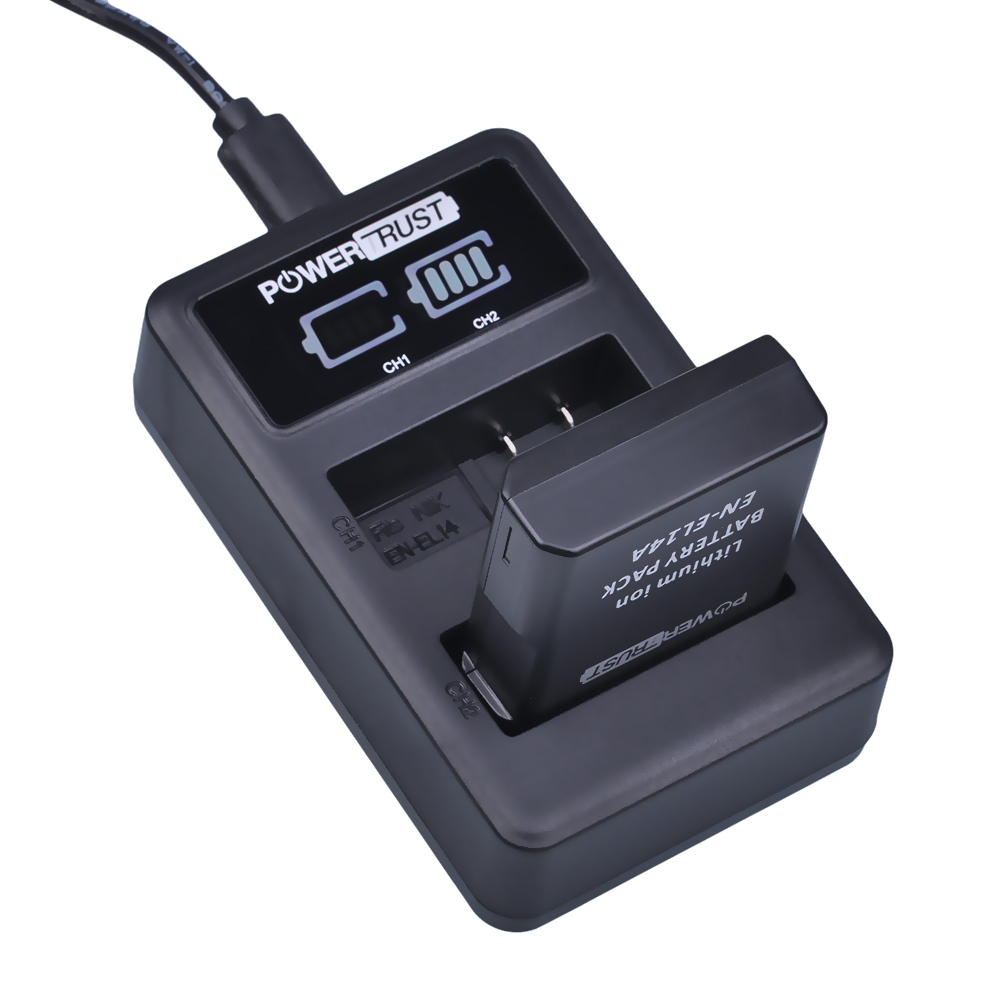 PowerTrust 1x 1500mAh EN-EL14 EN-EL14a EN EL14 Battery+LED Dual USB Charger for Nikon D300 D5300 D5200 D5100 D3300 D3200 D3100 kingma en el14 battery charger kit for nikon en el14 en el14 en el14a eu adapter included