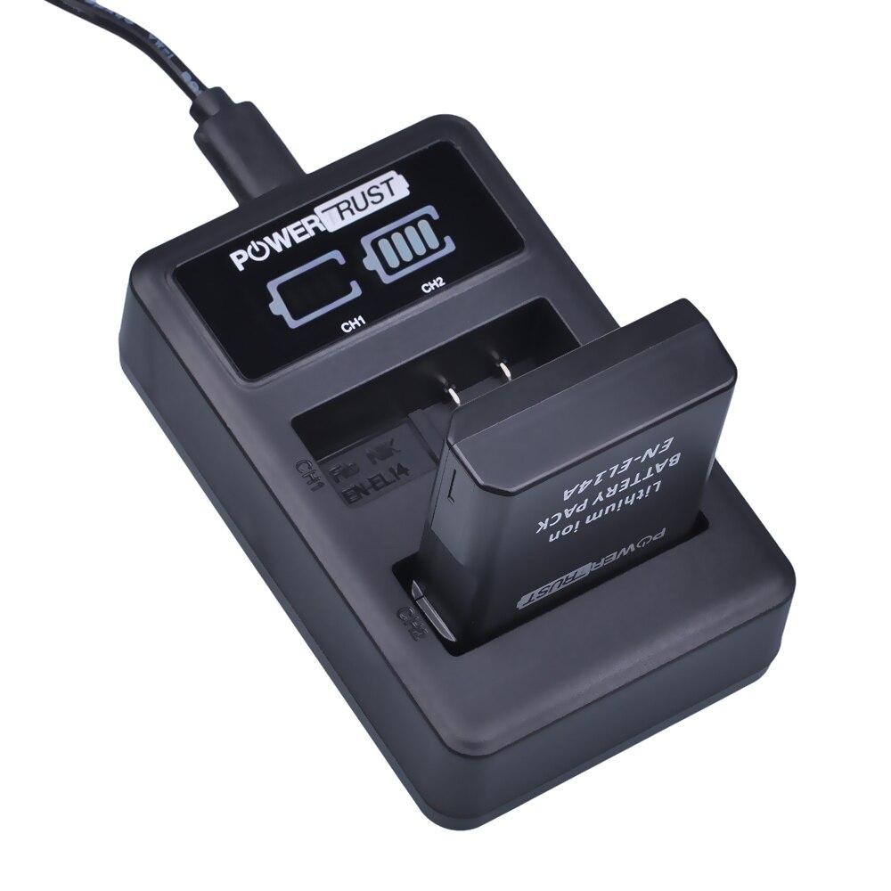 PowerTrust 1x1500 mAh EN-EL14 EN-EL14a es EL14 batería + LED Dual USB cargador para Nikon D300 D5300 D5200 D5100 D3300 D3200 D3100