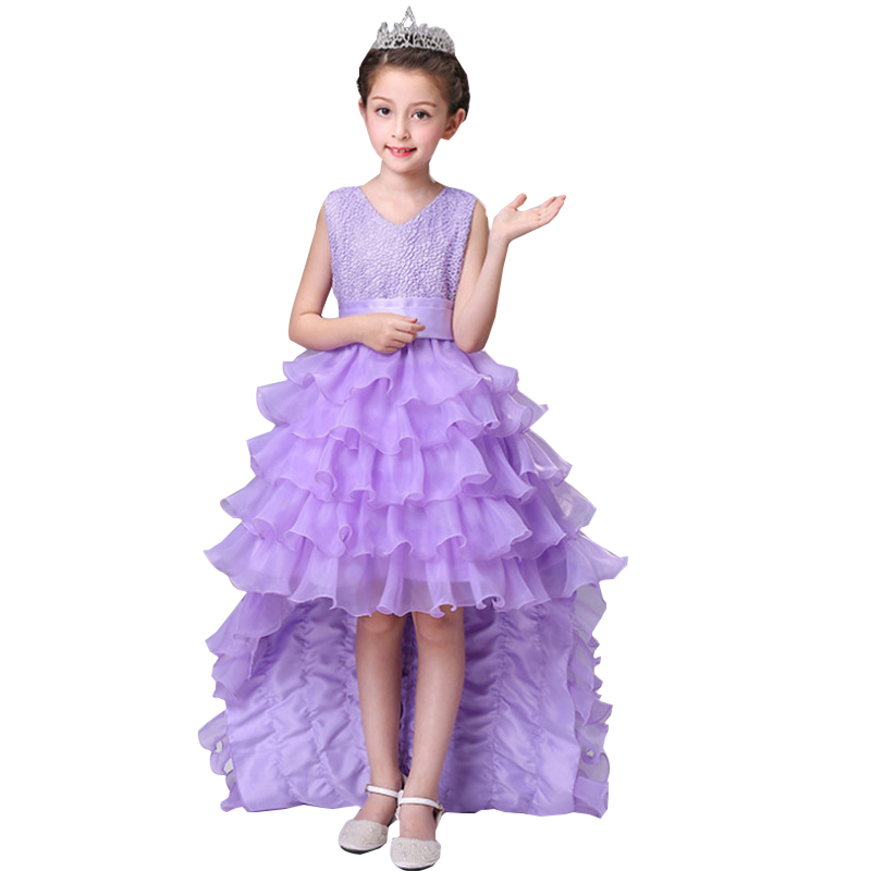 Teenage Wedding Dress Kids Flower Girl Dress Elegant Princess Party Formal Tailing Dress Sleeveless Dress 2-12 Years