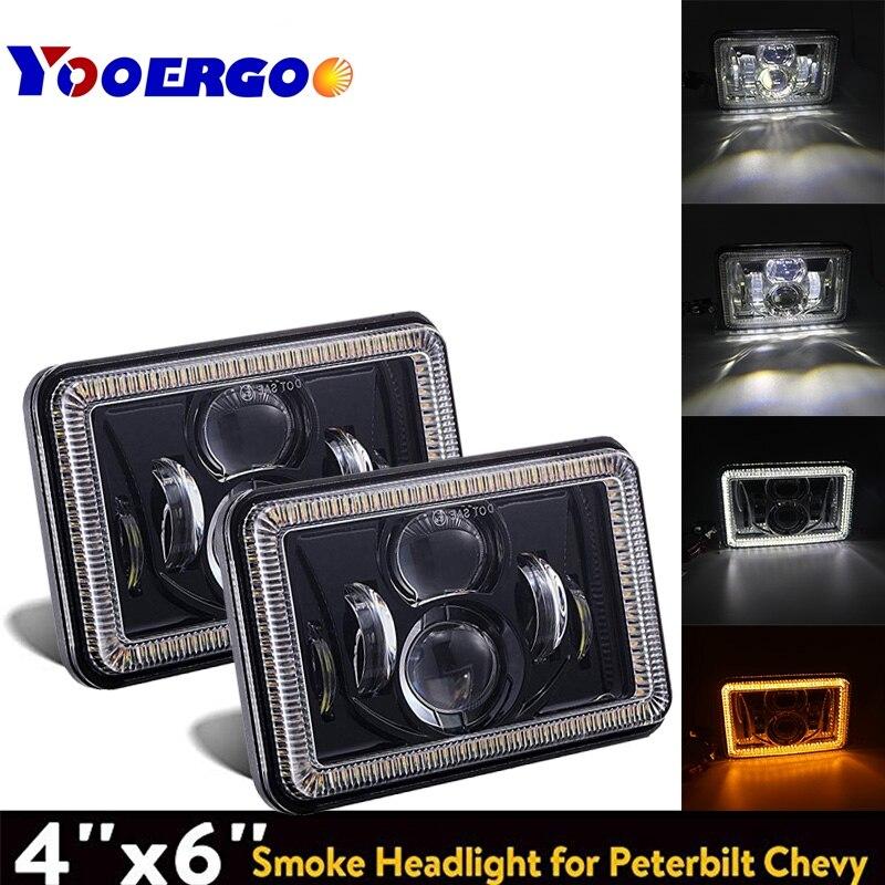 2pcs 5 Inch 4x6 Car Auto DRL Led headlamp For Jeep Cherokee Dodge Toyota 4x6 LED Truck Headlight Hi/Lo beam Square headlight