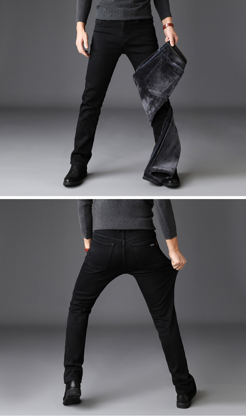 2020 New Trousers Grey Fleece Men Clothes  Black Elasticity Warm Thinker Winter Jeans Busines With Or No Velvet 2 Model Jeans 25