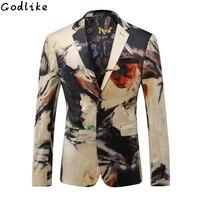 2017 Мужская мода бренд высокого качества Повседневное печати Бизнес Блейзер Для мужчин цветок свадебный банкет Slim Fit пиджак Для мужчин