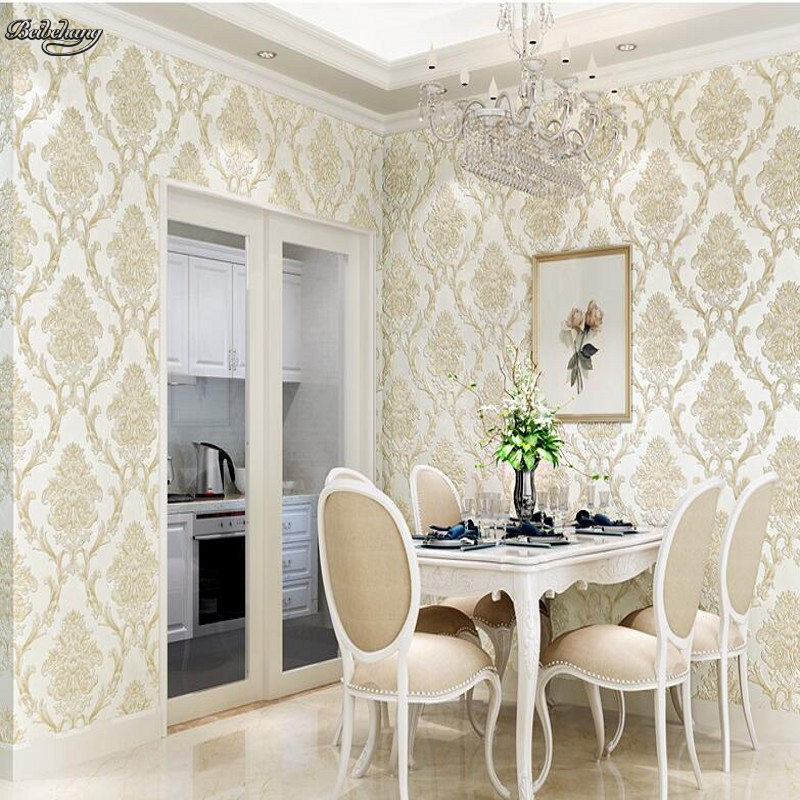 beibehang Large living room bedroom study wallpaper luxury European 3D non-woven fabric simple TV backdrop wall wallpaper fashion circle flowers birds large mural wallpaper living room bedroom wallpaper painting tv backdrop 3d wallpapers for wall