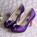 Wedopus MW643 Custom Handmade 2016 New Wedding Shoes for Women Purple Satin