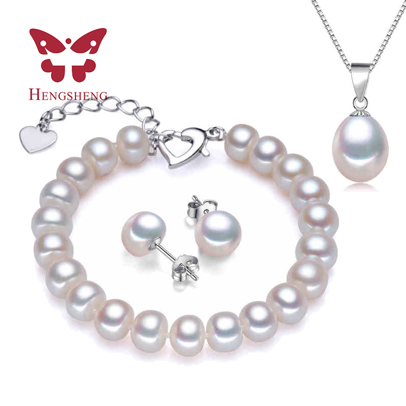 HENGSHENG Real Pearl Bracelet Pendant Earrings Three Jewelry Sets for Women Pearl Necklace/Earring/Bracelet Wedding Jewelry Set