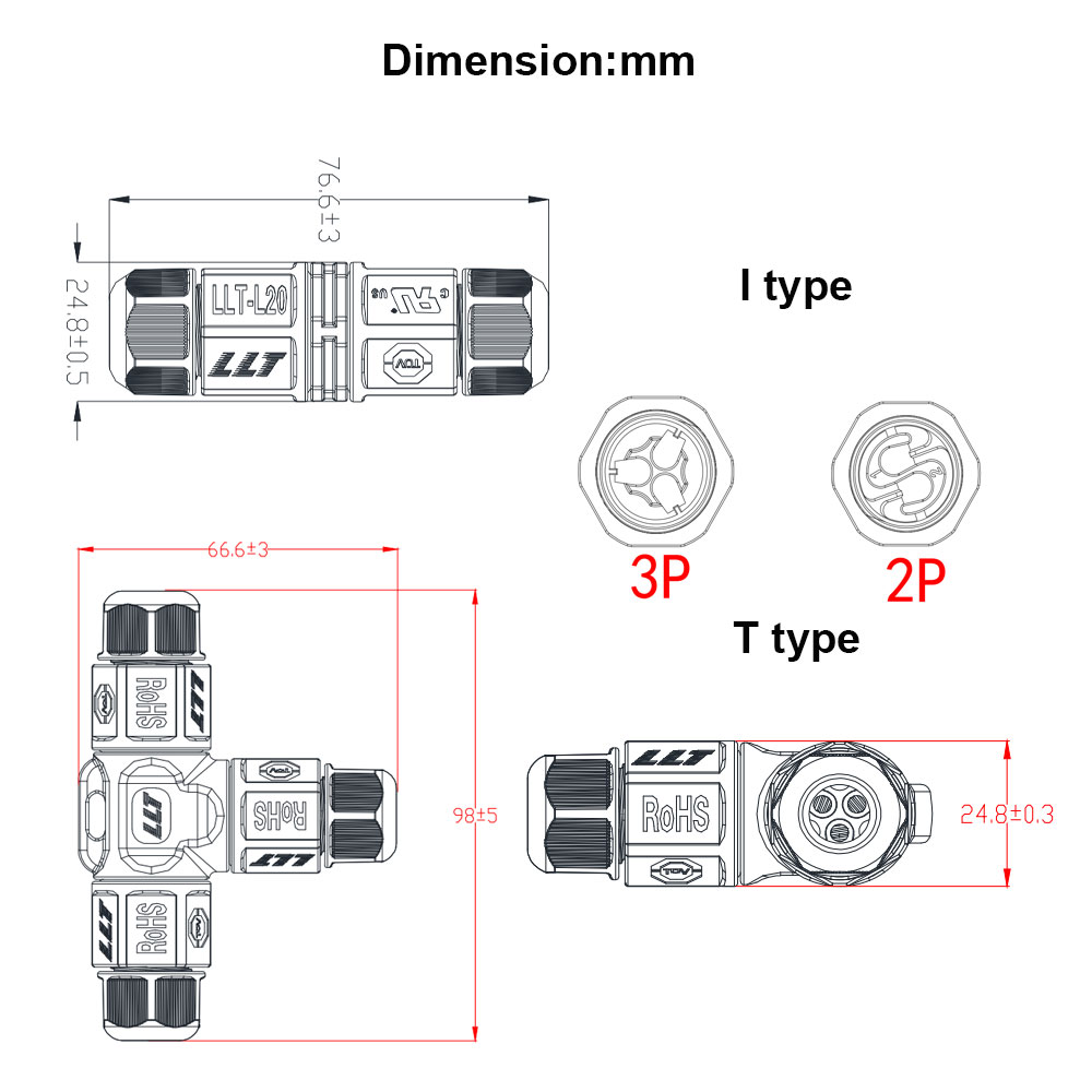Image 2 - 10pcs 2 3 Pin L20 Waterproof Connector wire 15A 300V cable connector Waterproof Electrical Terminal waterproof cable Adapter-in Connectors from Lights & Lighting