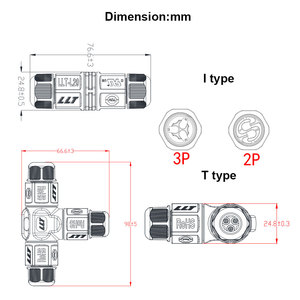 Image 2 - 10pcs 2 3 Pin L20 Waterproof Connector wire 15A 300V cable connector Waterproof Electrical Terminal waterproof cable Adapter