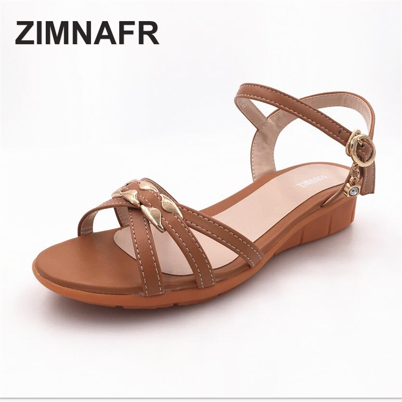 woman sandals summer 2017 casual non-slip soft genuine leather breathable sandals flat heel soft mom plus size female sandals timetang mother sandals soft leather large size flat sandals summer casual comfortable non slip in the elderly women s shoes