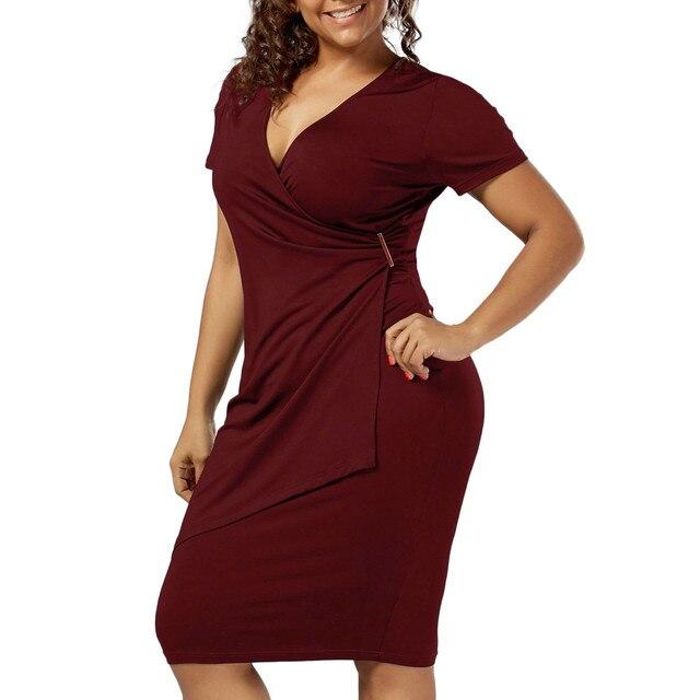 Γυναικείο καλοκαιρινό κοντομάνικο φόρεμα σε μεγάλα μεγέθη Φορέματα Ρούχα MSOW