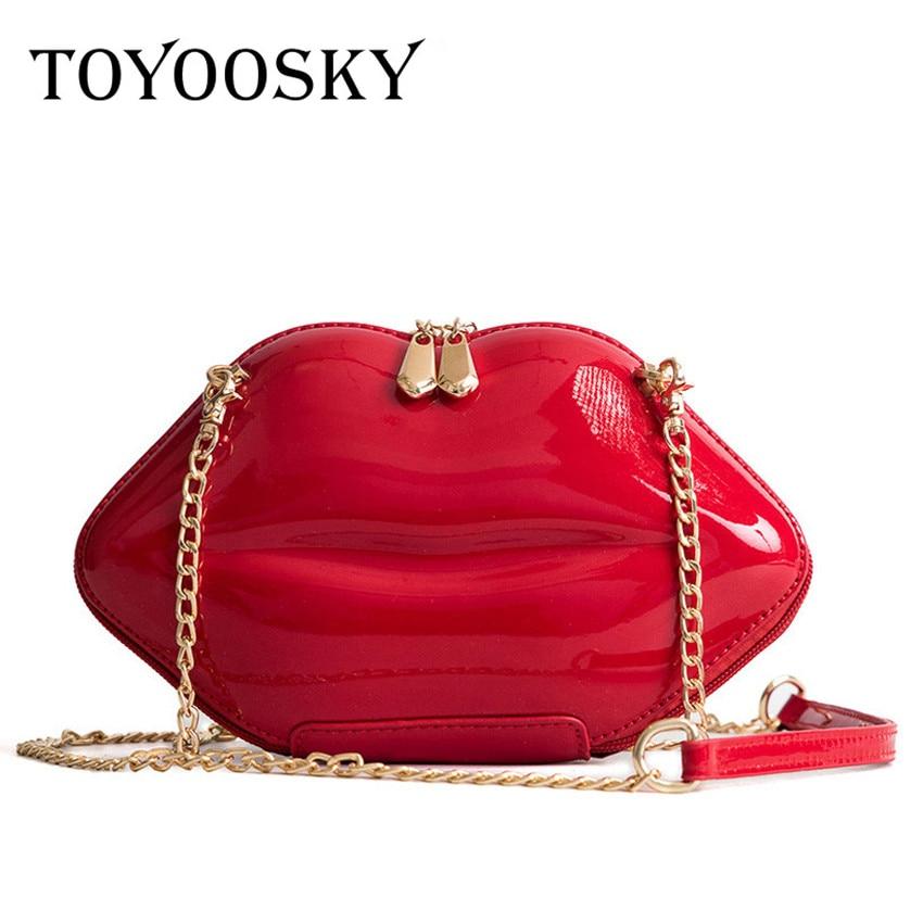 TOYOOSKY 2018 Women Red Lips Clutch Bag High Quality Ladies Pu Leather Chain Shoulder Bag Bolsa Evening Bag Lips Shape Purse shoulder bag