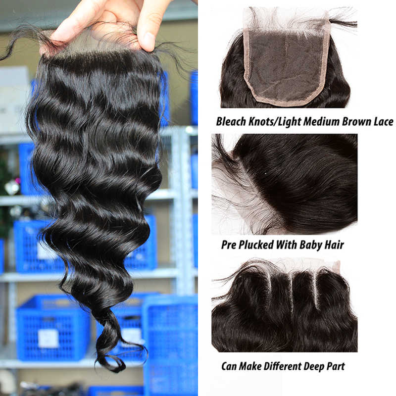 Loose Wave Bundles With Closure 3 Human Hair Weave Bundles With Lace Closure 4 Dolago Brazilian Virgin Hair Products Extension