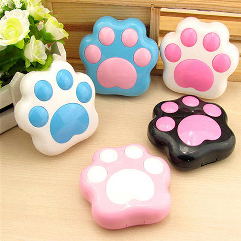 1Pcs Cartoon Cute Plastic Dog Cat Paw Contact Lens Case Mini Contact Lenses Box Container Holder With Mirror Random Color