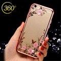 Chapeamento de cristal casos claros para iphone 6 6 s plus 7 7 Além de Luxo Jardim Secreto Flores Strass Macio TPU Do Telefone Móvel casos
