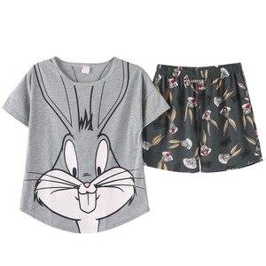 Image 2 - 2019 Summer Pijamas Women lovely rabbit Cartoon Pajamas Shorts Set Female Cute Sexy Night Suit Cotton Sleepwear big yard M XXL