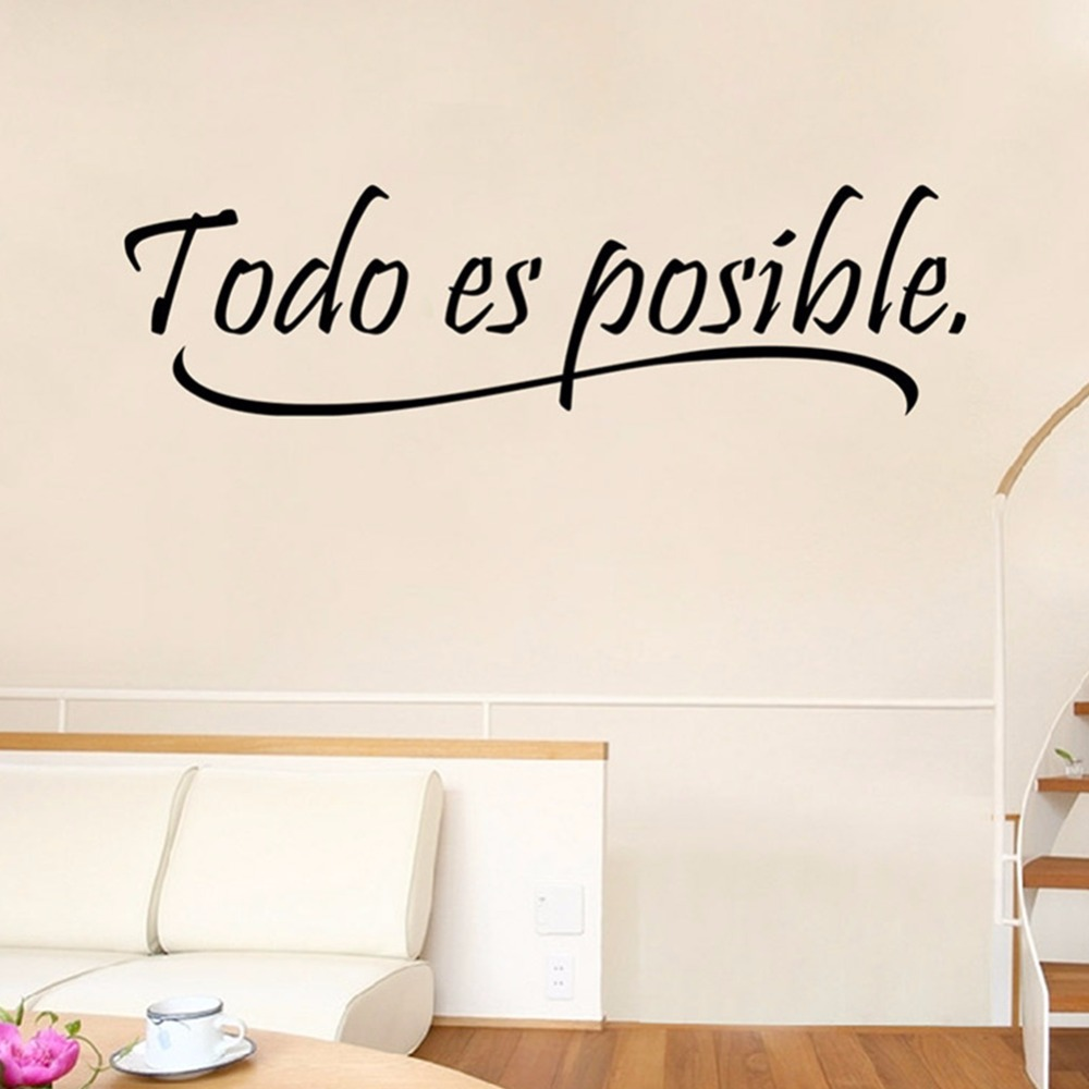 kid wall mural promotion shop for promotional kid wall mural on todo es posible spanish inspiring quotes wall sticker home decor bedroom kids wall mural decal black color