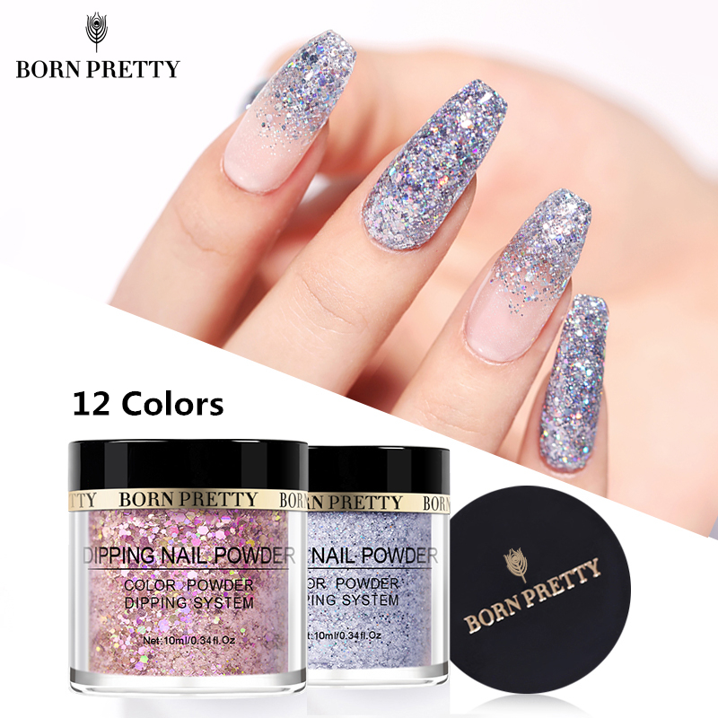 BORN PRETTY 2 IN 1 Dipping Nail Powder Holographic Extension Polymer Acrylic 10ml Dip Nail Glitter Powder Without UV Lamp Cure Силиконы