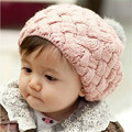 Baby Girls Beret Cap Kids Children Hat Handmade Crochet Knitting Cute Beanie Winter Caps Headwear Beanie 4 Colors New