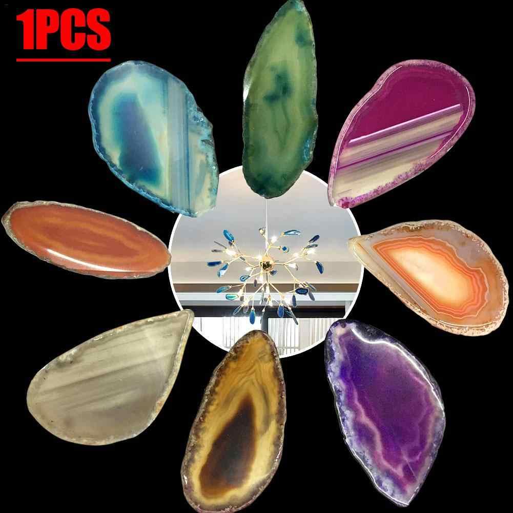 1Pc ธรรมชาติ Agate Geode ขัดคริสตัล Slice บราซิล Healing Reiki หินควอตซ์จี้ตกแต่งบ้านแร่ 3- 6 ซม.R120