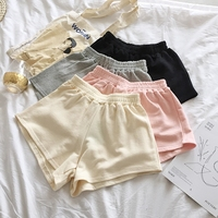 Summer Casual Women Shorts Elastic Waisted Wide Leg Shorts Candy Solid Color Pink Khaki Gray Black