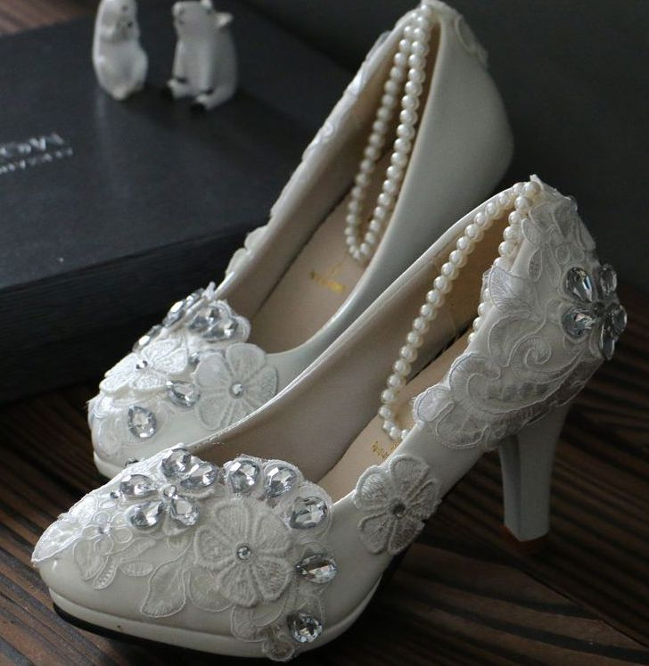 100% handmade lace rhinestones wedding shoes white for women TG147 low med high heel female spring summer bridal pumps with lace