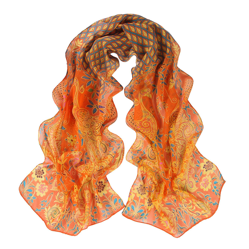 MUQGEW Yellow,Green,Red,Orange,Coffee Women Ladies Girls Peacock Pattern Soft Silk Chiffon Shawl Wrap Wraps Scarf Scarves