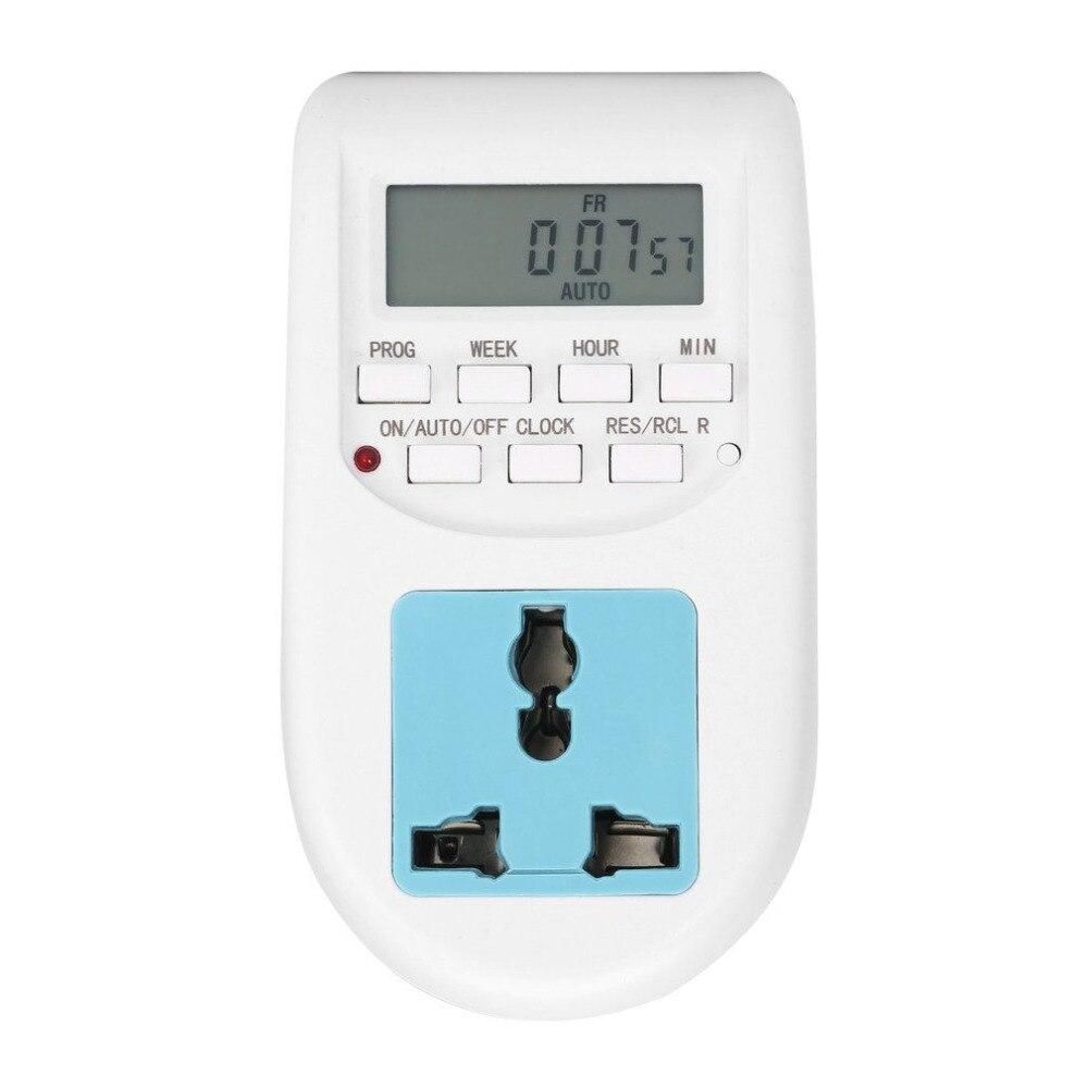 1 piezas enchufe de la UE nuevo ahorro de energía temporizador electrónico programable temporizador zócalo temporizador Digital aparatos electrodomésticos para dispositivos del hogar