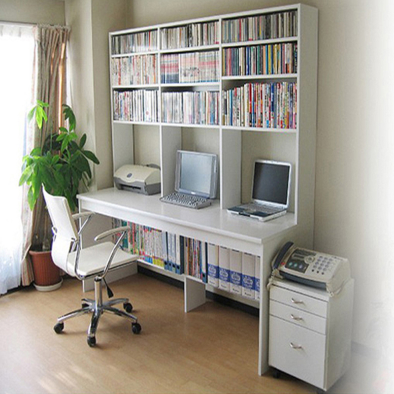 Stylish Simplicity Double Computer Desk Bookcase