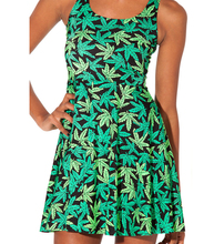 Fashion 1020 Sexy Girl Women Summer green weeds leaf 3D Prints Vest Reversible Sleeveless Skater Pleated Dress