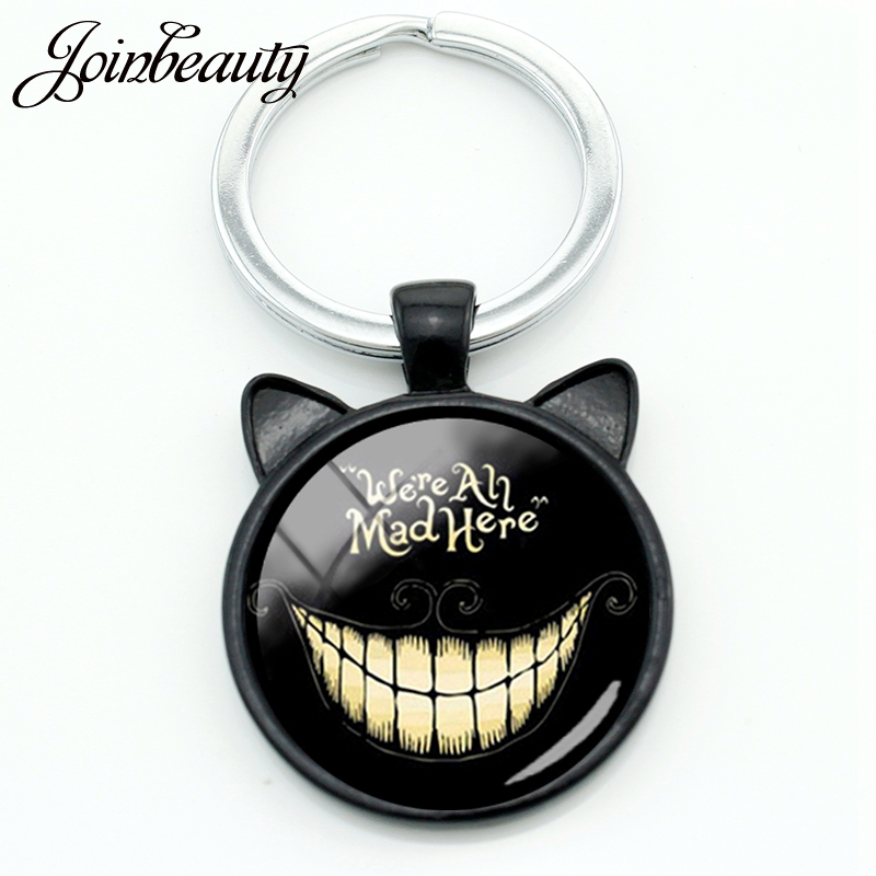 JOINBEAUTY We're Are All Mad Here Smiley Cat Keychain Case Alice Adventures In Wonderland Key Chain Ring Holder Jewelry CN702