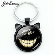 JOINBEAUTY We're All Mad Here Smiley Cat llavero funda Alice Adventures in Wonderland llavero anillo titular joyería CN702(China)