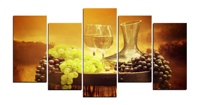 5 Panels Canvas Print Grapes And Wine Cup Painting for Living Room ...