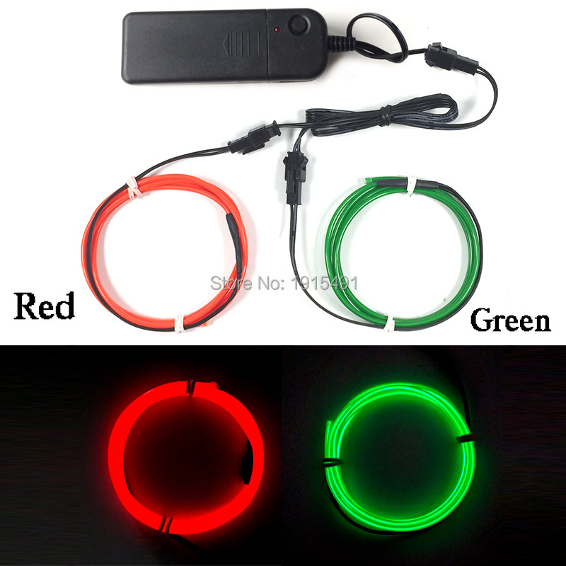 2017 Hot Sales Twin Color Flashing 2Pieces x 1Meter 2.3mm Blink EL Wire Set Light Up LED Strip with DC-3V Batterycase Converter