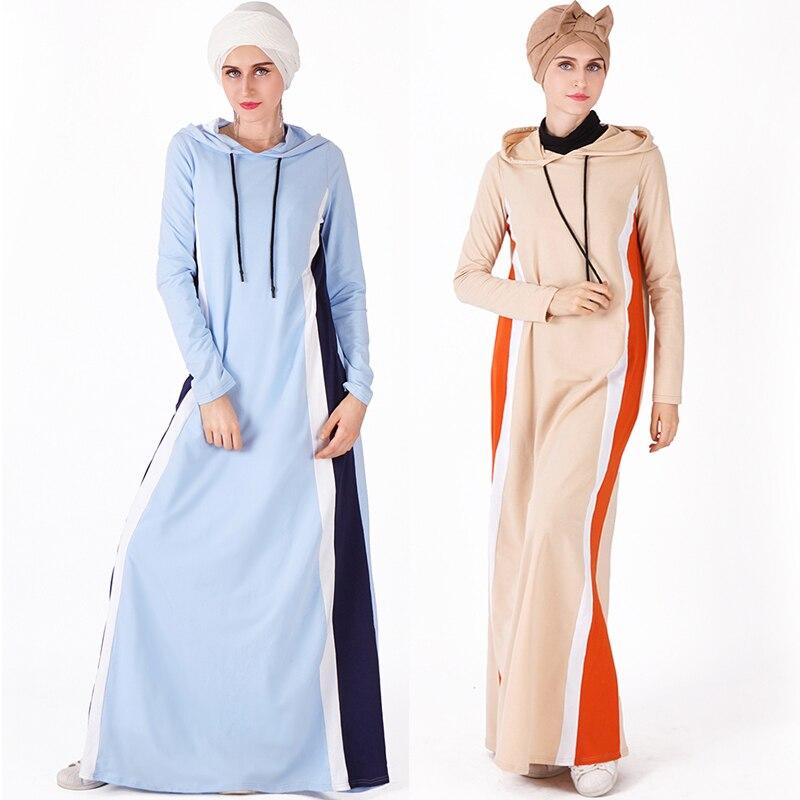 Striped Sports Long Kaftan Abaya for Arab and Turkish Women