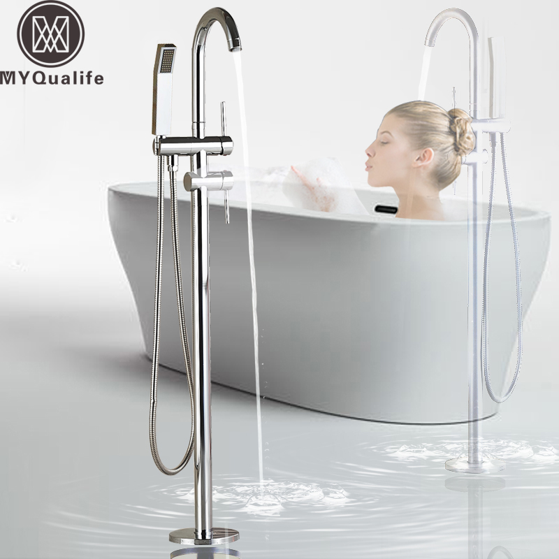 Floor Mounted Bathtub Faucet Chrome with Hand Shower Bathroom Tub Sink Mixer Tap Free Standing Swivel Spout Shower Mixer Tap wall mounted bright chrome bathtub sink faucet two cross handles bathroom handheld shower mixers swivel tub spout