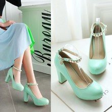 2016 Women's Spring New Round Toed Platform Shoes With Thick Heels Buckle Elegant White Pumps