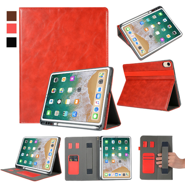 new products 88e19 d301b US $19.49 25% OFF|Half Genuine Leather Magnet Smart Case Stand Hand Strap  Pencil Card Holder Cover Funda For Apple iPad Pro 11 2018 11 inch Tablet-in  ...