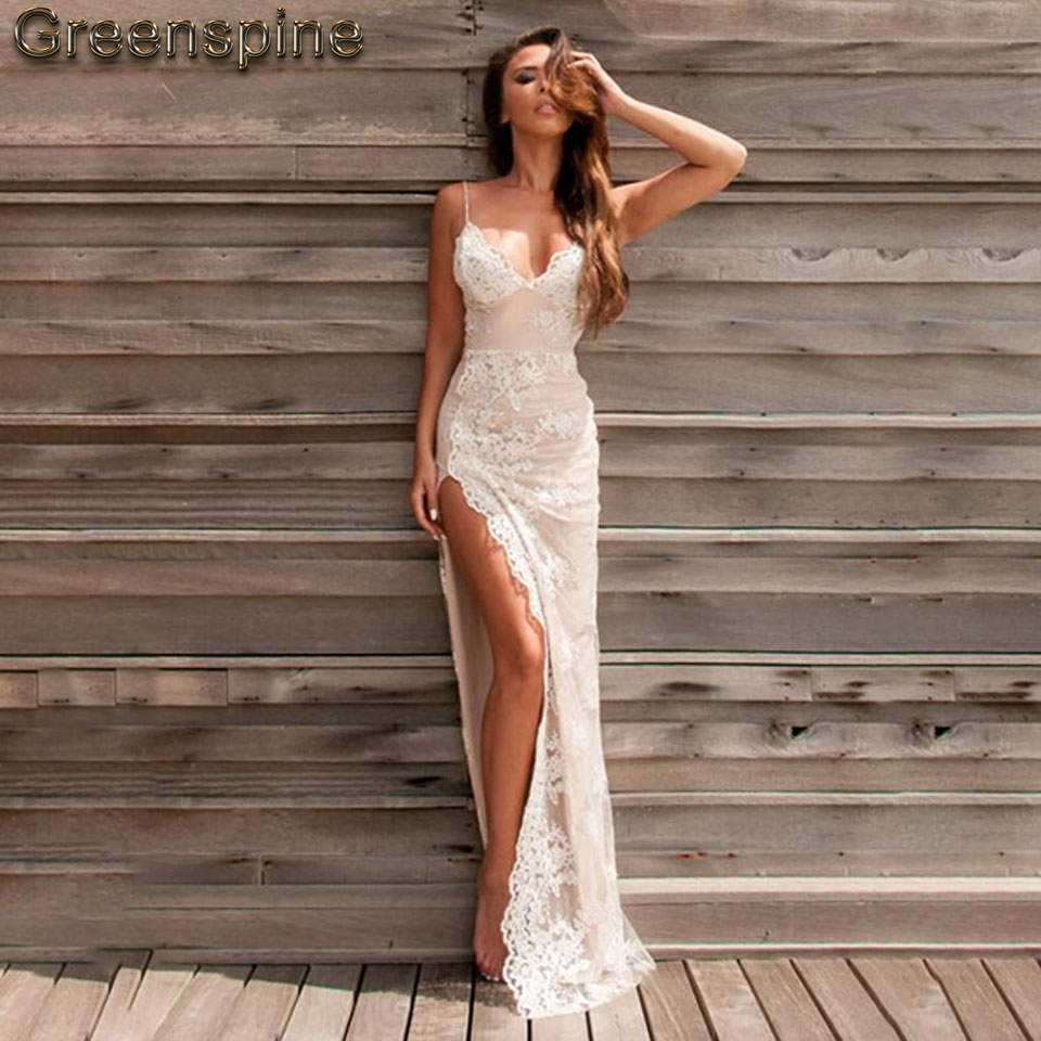Sexy Mermaid Wedding Dress Beach 2019 Robe Mariage Side High Split Lace Wedding Dresses Spaghetti Straps Backless Bridal Gown