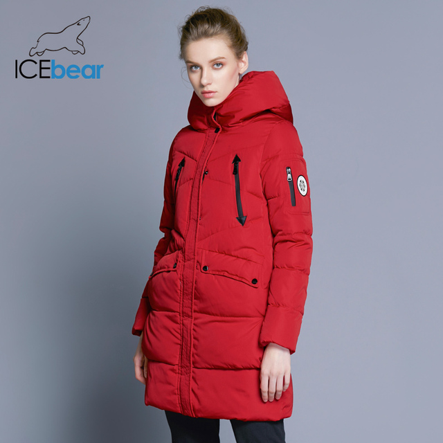 ICEbear 2018 100% Polyester Soft Fabric Bio Down Five Colors Hooded Coat Woman Clothes Winter Jacket With Pockets 16G6155D