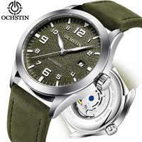 Reloj Automático ocstin Tourbillon de marca superior para hombre, resistente al agua, reloj mecánico de cuero para hombre, reloj de pulsera de moda para hombre