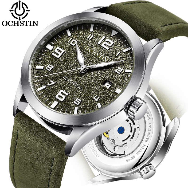 Reloj Automático OCHSTIN Tourbillon de la mejor marca, reloj para hombre a prueba de agua, fecha, deporte, Reloj de pulsera mecánico de cuero, reloj de moda para hombre