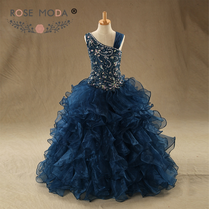 Rose Moda Luxury Crystal Beaded Navy Quinceanera Dresses Ruffled Organza Skirt Ball Gown Vestidos de 15