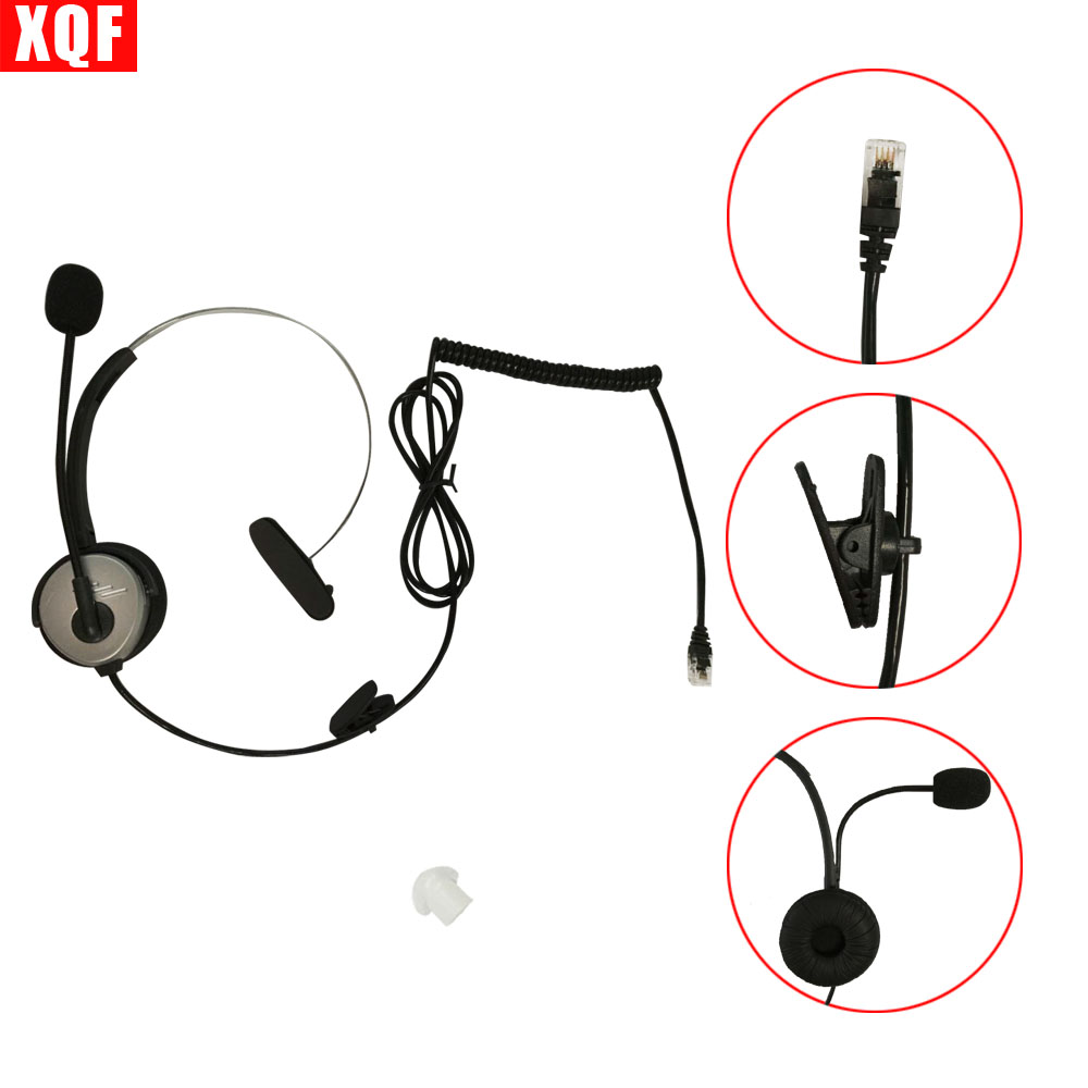 XQF 10PCS  4-pin RJ11 Crystal Head Telephone Monaural Headset MIC Phone Prevent Noise Silver Earpiece