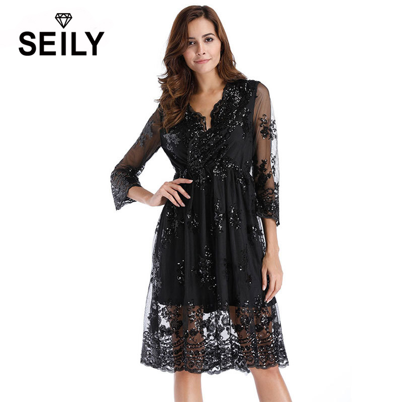 Seily Autumn Elegant Black Embroidery Sequin Lace Midi Dresses 3 4 Sleeve Tunic Party A Line Dress Vestidos XXL Robe Sexy Femme in Dresses from Women 39 s Clothing