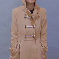Vrouwen Winter Nieuwe Europese Warme Wollen Hoodie Claxon Wollen Jassen Bovenkleding