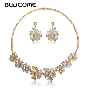 Blucome Exquisite Three Tones Colors Flower Shape Choker Necklace Earrings Set Jewelry Full Zircon Copper Wedding Sets For Women