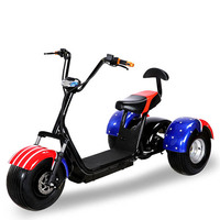 UK FLAG COLOR 3 Wheel Moped Vespa Harley Electric Scooter Citycoco Giroskuter With Remote Controller