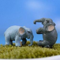 2 sztuk sztuczny słoń Fairy miniatury ogrodowe gnomy mech do terrarium rzemiosło żywiczne figurki do dekoracja do przydomowego ogrodu|Posągi i rzeźby ogrodowe|   -