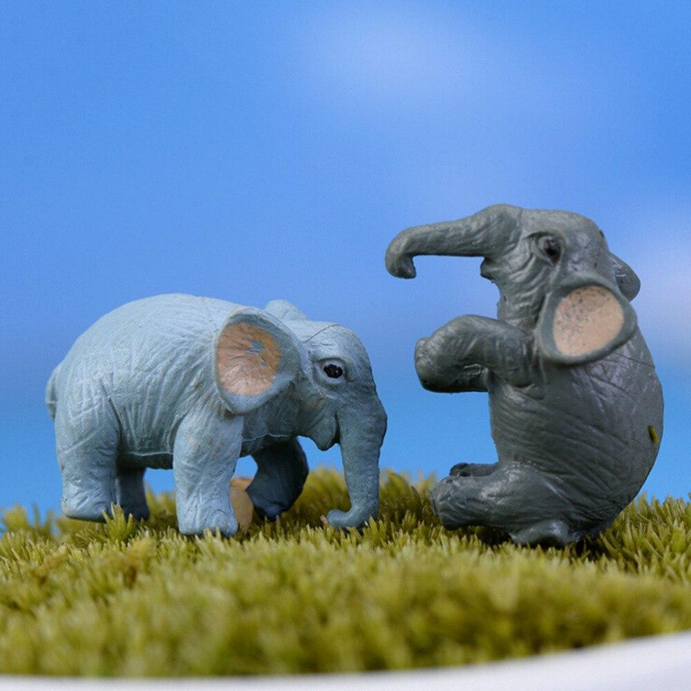 2PCS Artificial Elephant Fairy Garden Miniatures Gnomes Moss Terrariums Resin Crafts Figurines For Home Garden Decoration