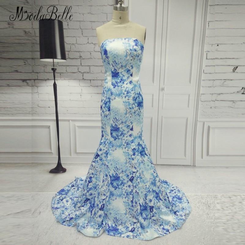 modabelle Strapless Sleeveless Blue Print Prom Dresses Mermaid Long Floral  Pattern Satin Formal ...