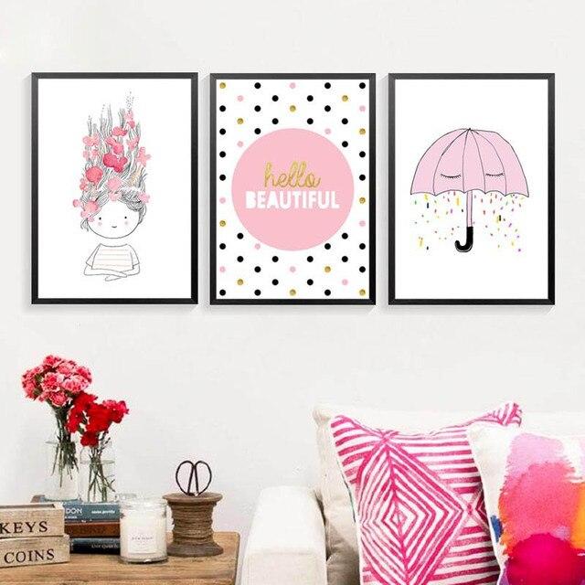Letters Voor Op De Muur Kinderkamer.Hello Mooie Engels Letters Cartoon Roze Meisjes Kinderkamer Muur
